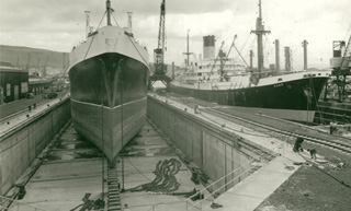 Blue Funnel ship Ajax in Palmers Dry Dock